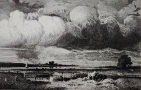 """""""大英博物馆藏画""""1879年62《南安普敦》—法国巴比松画家 """"朱尔斯·迪普雷Jules-Louis Dupr (1811 - 1889)""""作品 版画家:Léon Gaucherel  雕刻 法国ARCHES版画专用水印纸  43x30cm"""