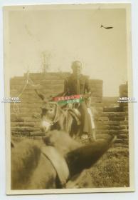 民国时期驻华美国水兵在中国的城墙上骑驴游览留影老照片