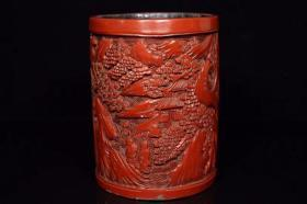 剔紅漆器筆筒,450