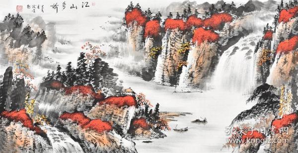 当代画家周老师三尺整张写意山水画画gs01283