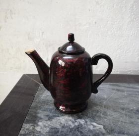 漂亮精美的文革漆木茶壶