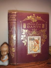 1911年 STORIES FROM DANTE  BY SUSAN CUNNINGTON  含彩色插图  烫金封面 书顶刷金  毛边本  21.3X15.5CM