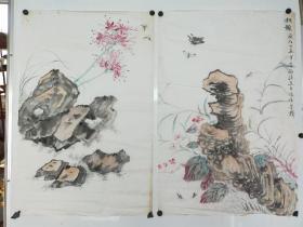 (已故苏州某画家 家里流出)九十年代 无款奇石花卉草虫2幅  黄斑较多 大家画工 每幅尺寸68x45