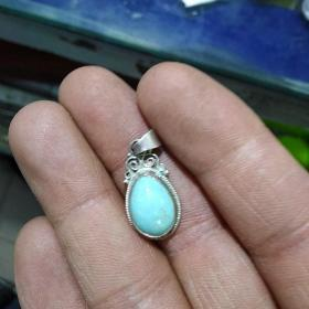 纯银小松石吊坠,保真正品,售出不退。