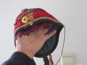 民国老虎头帽带穗子儿童棉帽子绣工精美包老收藏影视道具民风民俗