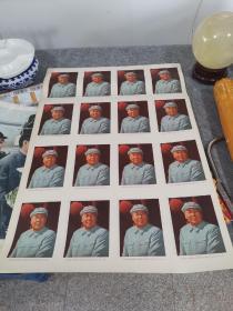 对开10张七十年代未裁切教材扉页《毛泽东像》