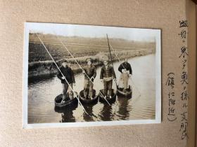 民国时期原版老照片:江苏镇江渔民捕鱼