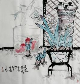 【来自书画家本人,保证真迹】王孝华,字墨白,号凤鸣阁主,花鸟画家,毕业于贵州遵义画院,师从中国美术家协会著名书画家程其德先生、田应福先生。 国画四尺斗方水仙金鱼4《春风得意》(68×68cm)
