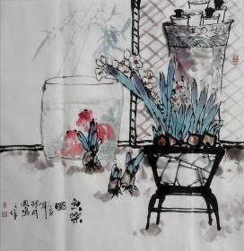 【来自书画家本人,保证真迹】王孝华,字墨白,号凤鸣阁主,花鸟画家,毕业于贵州遵义画院,师从中国美术家协会著名书画家程其德先生、田应福先生。 国画四尺斗方水仙金鱼8《鱼乐图》(68×68cm)