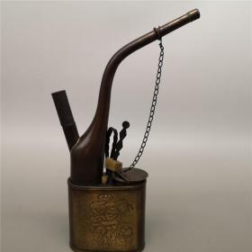 古玩仿古铜器纯铜水烟袋文玩收藏老铜水烟袋年年有余老物件摆件