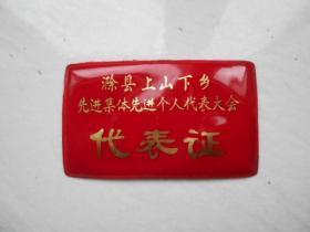 滁县上山下乡先进集体个人代表大会代表证(塑料)