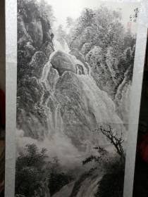 著名画家、陕西省书画院副院长 石川  国画一幅 画心尺寸136*69(保真)