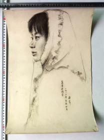 画家崔彤华80年代人像素描速写画稿原稿《吴兴宁同学》
