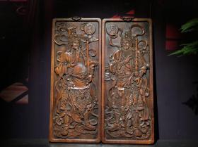 花梨木门神挂匾一对单个尺寸:42×17×2cm重3100克