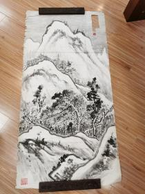 杭州 张炎夫山水  西泠印社早期创始人之一 包真 真接得自张炎夫后人 款被挖