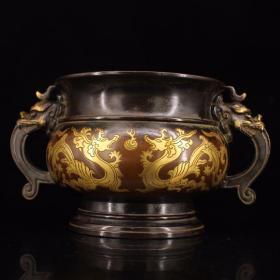 珍藏老宫廷皇家御用纯紫铜纯手工打造鎏真金雕刻龙凤香炉重3759克   高12.5厘米  宽20厘米