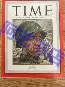 """【现货】时代周刊杂志 Time Magazine, 1944年,二战特别报道,封面 """"美国五星上将 布莱德雷,内有中国新闻报道一则,珍贵史料!"""