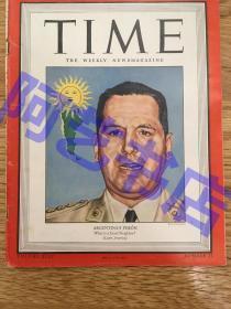 """【现货】时代周刊杂志 Time Magazine, 1944年,二战特别报道,封面 """"阿根廷总统-胡安·庇隆"""",另有中国新闻报道一则:中日战争。珍贵史料!"""