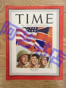 """【现货】时代周刊杂志 Time Magazine, 1945年,二战特别报道,封面 """" 二战的三大战胜国 (苏联、美国、英国)""""。"""
