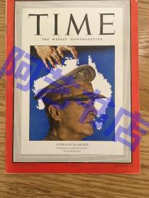 """【现货】时代周刊杂志 Time Magazine, 1942年,二战特别报道,封面 """"美国五星上将-麦克阿瑟。珍贵史料!"""