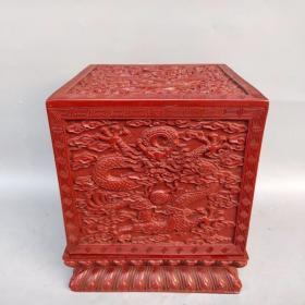 舊藏剔紅漆器玉璽印章盒大擺件 五面雕工《單龍戲珠》圖案高24.5厘米長21.5厘米寬21.5厘米,重4560克,¥2800