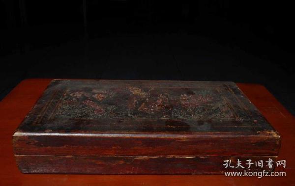 木質漆藝彩繪人物故事碑帖盒