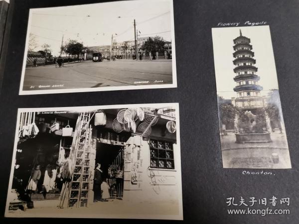民国上海相册老照片共五张(街景,电车,塔景)
