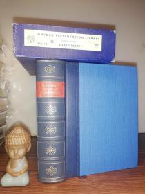 1952年 THE COMPLETE WORKS OF WILLIAM SHAKESPEARE 厚本  皮脊  书顶刷蓝  带书匣   好品  18.5X14.5CM
