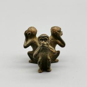 古玩铜器收藏,三不猴,非礼勿言、非礼勿听、非礼勿看