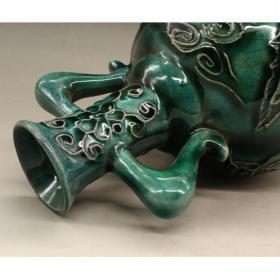 清光绪绿釉龙纹双耳瓶古玩瓷器古董复古做旧镇宅摆件送礼收藏品