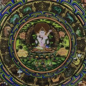 景德镇仿古陶瓷粉彩西藏唐卡瓷盘古董瓷器佛文化家居书房客厅摆件