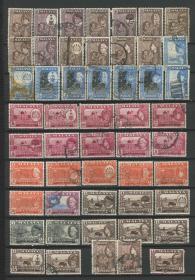 马来亚邮票 彭亨州 霹雳州 雪兰莪州 吉打州 等地州 1957年 马来虎 清真寺 耕牛 菠萝 雕刻版 50枚信销X343
