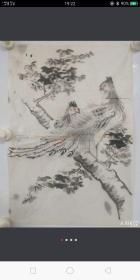 清末画稿《凤求凰》无款,纸本单片,保老到清末,局部少许破损。尺寸:49x34cm。
