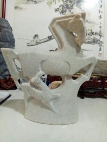 冰裂纹瓷马摆件-工艺品