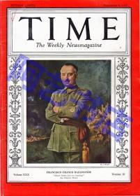 """【现货】时代周刊杂志 Time Magazine, 1937年,封面 """"弗朗西斯科·佛朗哥"""",西班牙国家元首、西班牙首相。内有中国新闻长篇报道:日本侵华战争。珍贵史料!"""