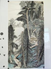 约八九十年代  无款山水画稿  尺寸84x45