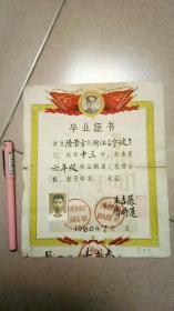 1960年带毛主席头像的毕业证书