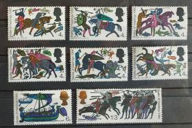 英国 1966年 赫斯汀斯战役900周年 古代军事战 8全新 挂毯画
