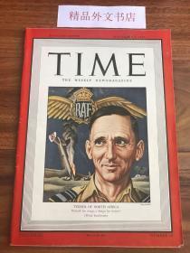 """【现货在国内、全国包顺丰、1-3天收到】1942年11月9日《时代》杂志,封面 """" Tedder of North Africa / 亚瑟·泰德,(英国皇家空军元帅,二战期间负责指挥中东的皇家空军,曾参与在地中海和北非的行动,包括克里特撤退和北非的十字军行动。他的轰炸有 """" 泰德地毯 """"之称 ) """",平装,104页,尺寸:28.50 乘以 21 厘米,珍贵历史参考资料!"""