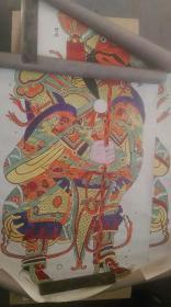 """约上世纪五十年代版印""""世兴、老局--门神""""木板年画两张(对开、套色)"""