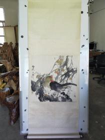 约九十年代 精装裱 北京画家 云飞?作者不识  花鸟立轴  霉斑较多 68x68