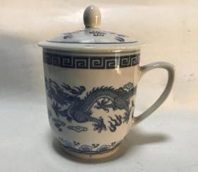 七八十年代景德镇青花双龙茶杯盖杯老物件老水杯瓷茶杯