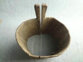 罕见清代神奇老木器不知何用的无底老木桶或木集子可大可小民俗老物件极少见老古董古玩