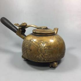 开光纯铜雕刻人物手把壶酒壶水壶家居装饰工艺品摆件