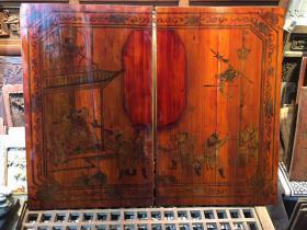 清代人物故事情节金绘柜门板一对儿。超级漂亮的一副门板,人物众多 小姐一箭正中靶心 漂亮