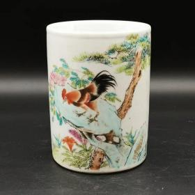 江西瓷业公司大吉大利款公鸡图笔筒