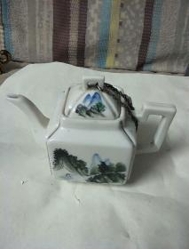 瓷茶壶(1964年山水、书法)