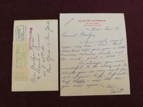 【美国著名女演员、奥斯卡以及金球奖获得者 珍妮特•利(Janet Leigh)1961年12月13日致友人玛丽莲信札一通一页附实寄封,信封背面有珍妮特•利•柯蒂斯的签名,加了其丈夫托尼•柯蒂斯的姓】(信中珍妮特告诉对方要保持快乐并希望与其尽快见面)