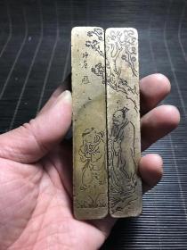 民国云啸堂款师曾高士人物铜镇尺,,包浆熟美,长11.5厘米,宽2厘米,重356克。