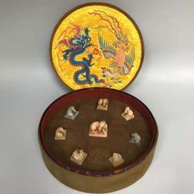 古董收藏珍藏寿山石(芙蓉石、天蓝洞石,田黄冻石)手工雕刻【八骏马】马钮印章一套Z